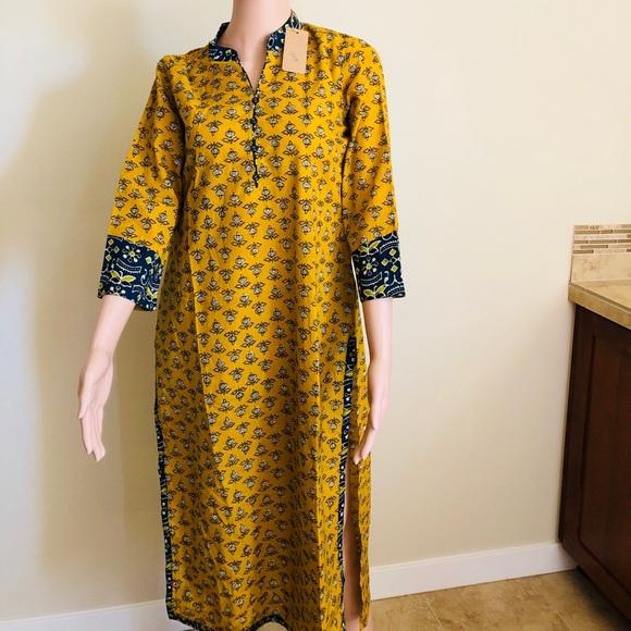 Tops - Chic yellow and blue printed kurti